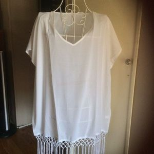 MG Collection Swim - MG Collection Sheer Chiffon Fringed Beach Coverup